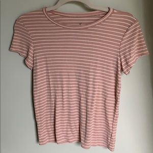 Pick and white striped Tee
